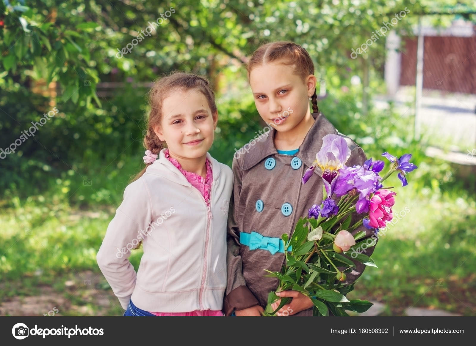 Two Children Girls Sisters Bouquet Spring Flowers Background Spring
