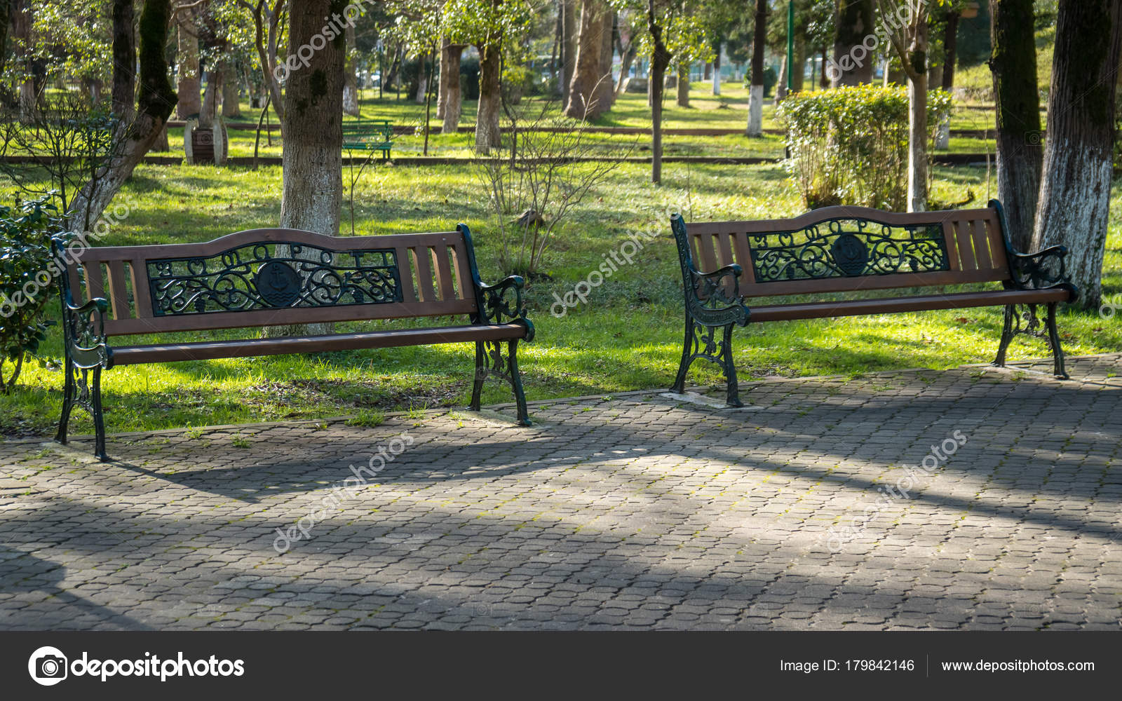 Wooden Park Benches In A Park On A Beautiful Sunny Day Stock Photo