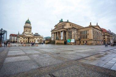 25.01.2018 Berlin, Germany - Panoramic view of famous Gendarmenm