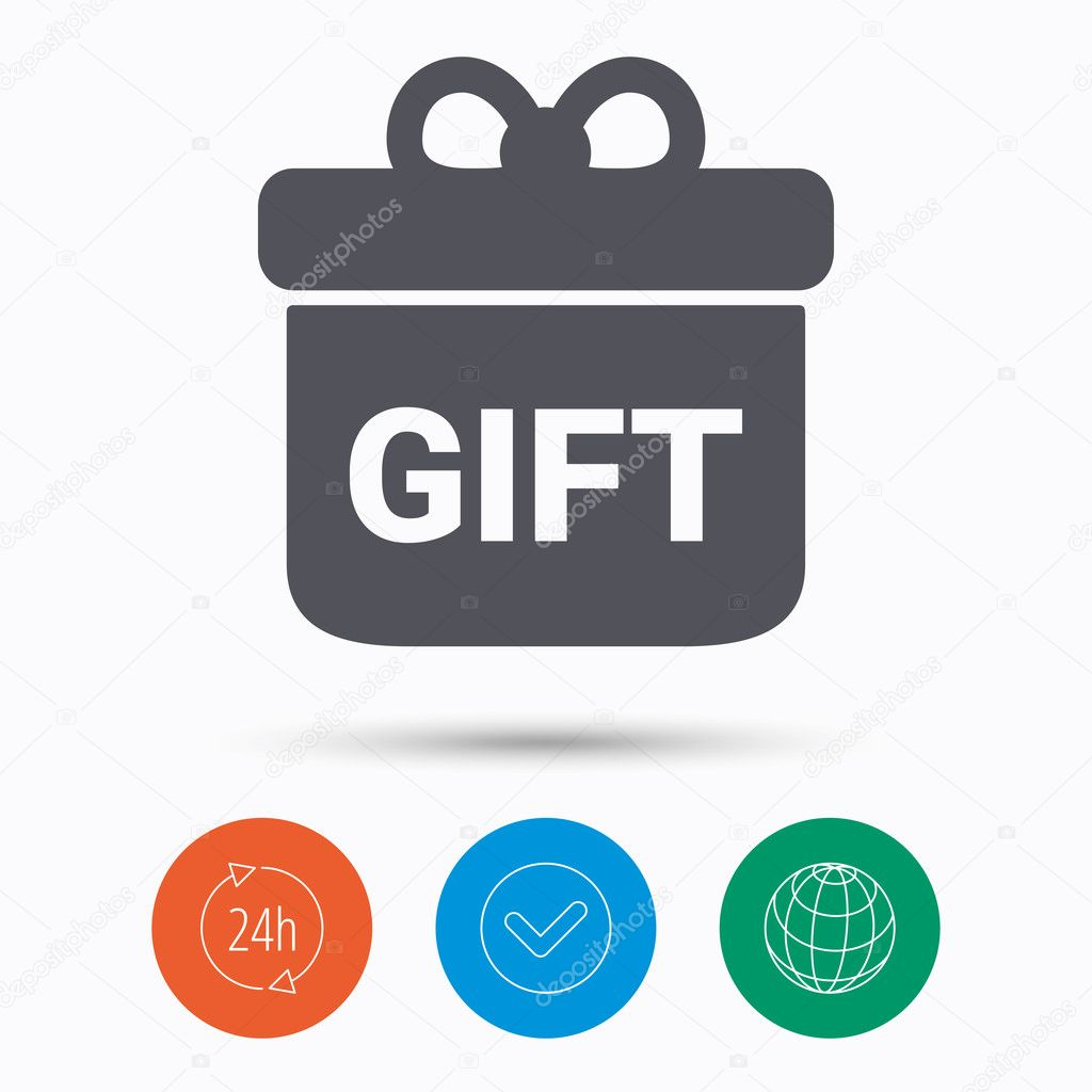 Gift Icon Present Box With Bow Sign Stock Vector Tanyastock