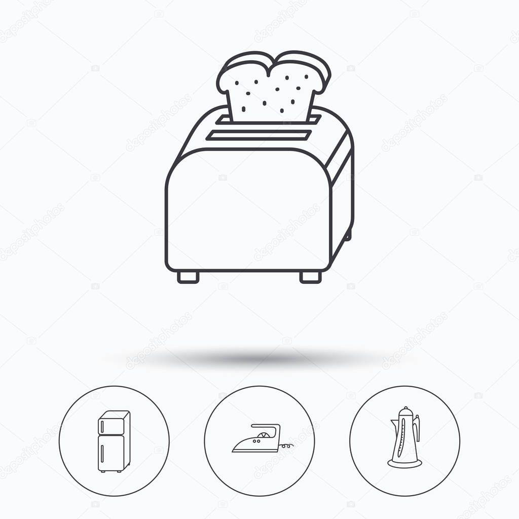 Icone di tostapane, frigorifero e ferro da stiro — Vettoriali Stock ...