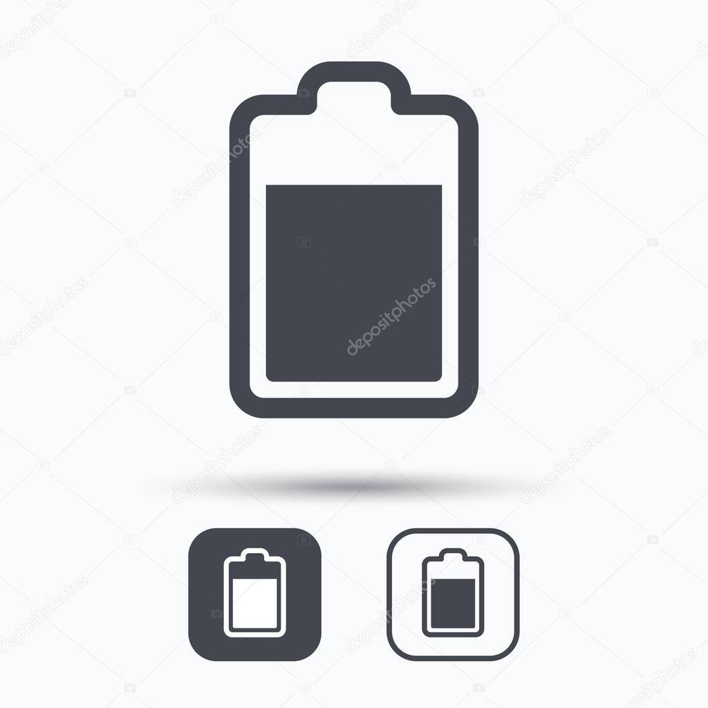 Batterie-Power-Symbol. Ladegerät Akku Zeichen — Stockvektor ...