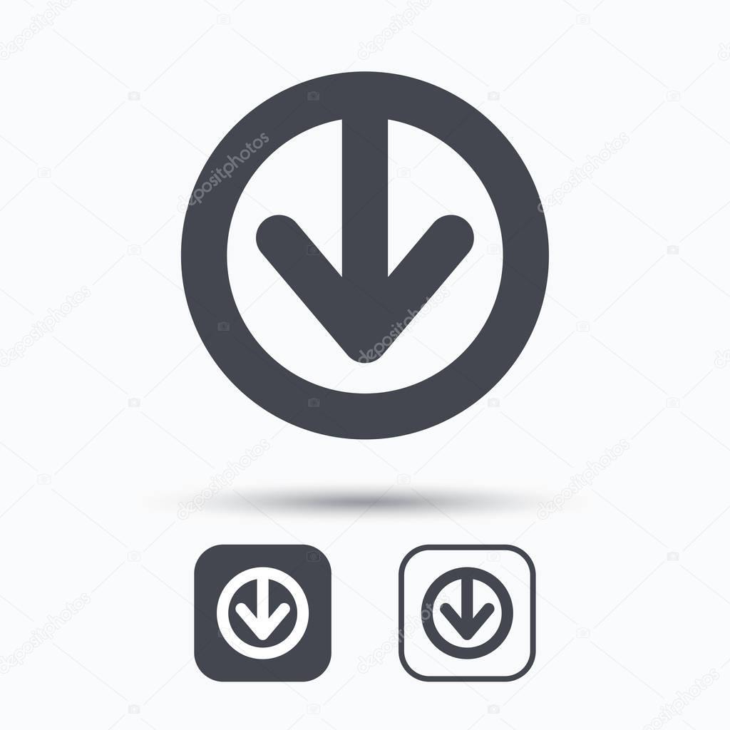 82f4fb4ca1d12 Descargar icono. Símbolo de datos de internet de carga. Botones cuadrados  con icono web plana en fondo blanco. Vector de - descargar icono internet —  Vector ...
