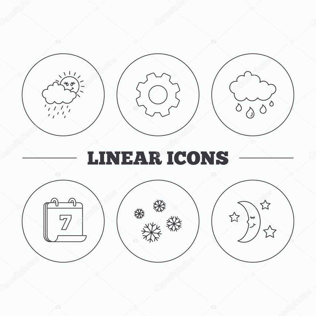 Simboli Luna Calendario.Icone Meteo Fiocchi Di Neve E Pioggia Notte Della Luna