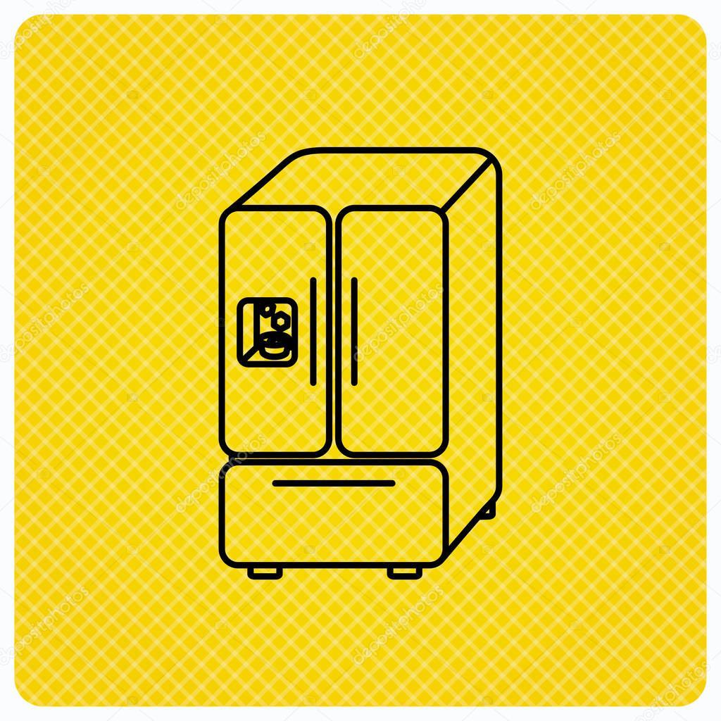 Amerikanischer Kühlschrank-Symbol. Kühlschrank mit Eis-Schild ...
