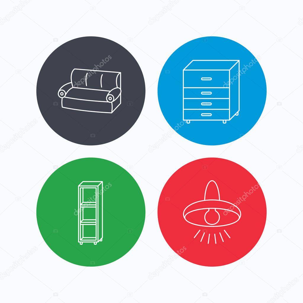 Sofa, Deckenleuchte und Regale Symbole — Stockvektor © Tanyastock ...