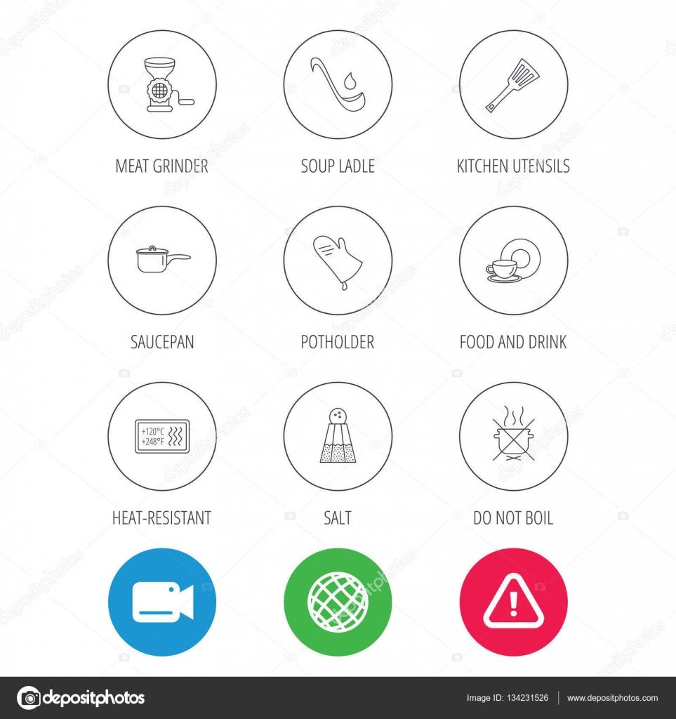 Icono de utensilios cocina, agarradores y cucharón de sopa — Vector ...
