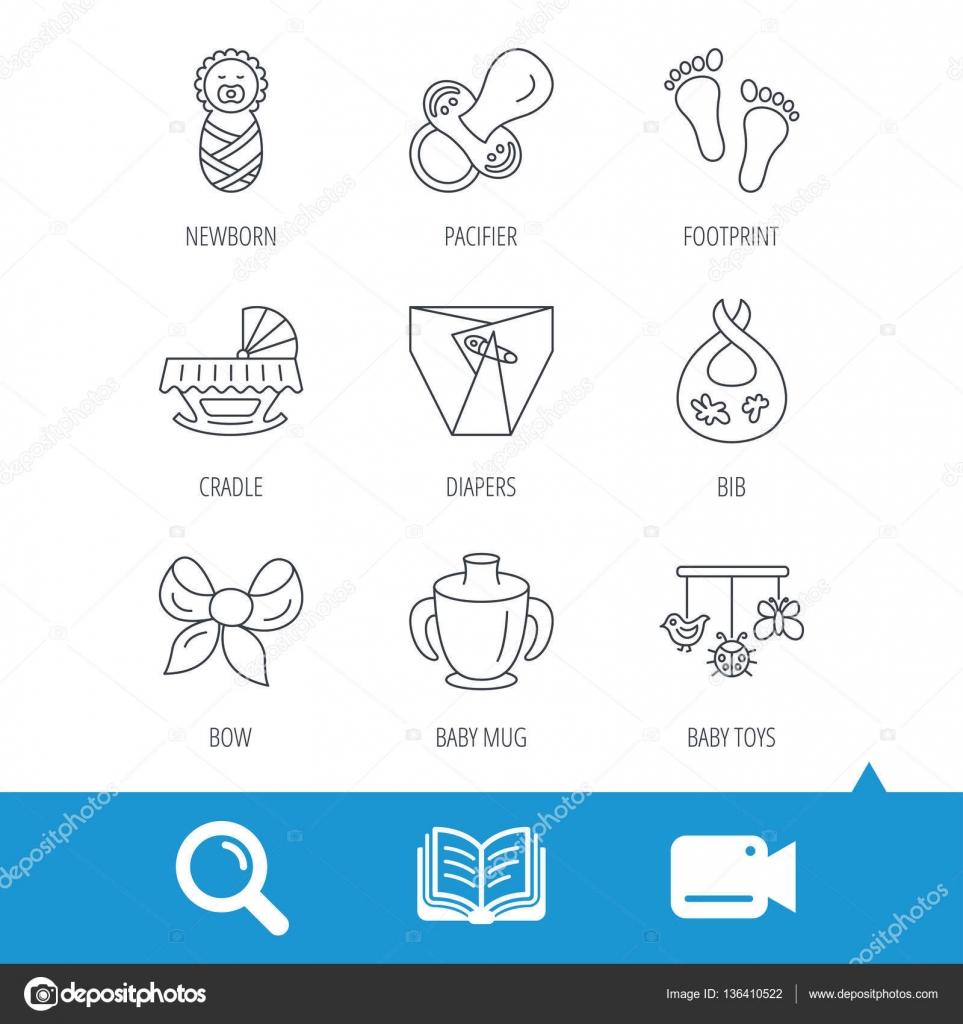 8a1b45886c1aa2 Sucette, du nouveau-né et bébé jouets icônes. Empreinte, couches et berceau  lit linéaire des signes. Chope, icônes ligne plate bavoir sale.
