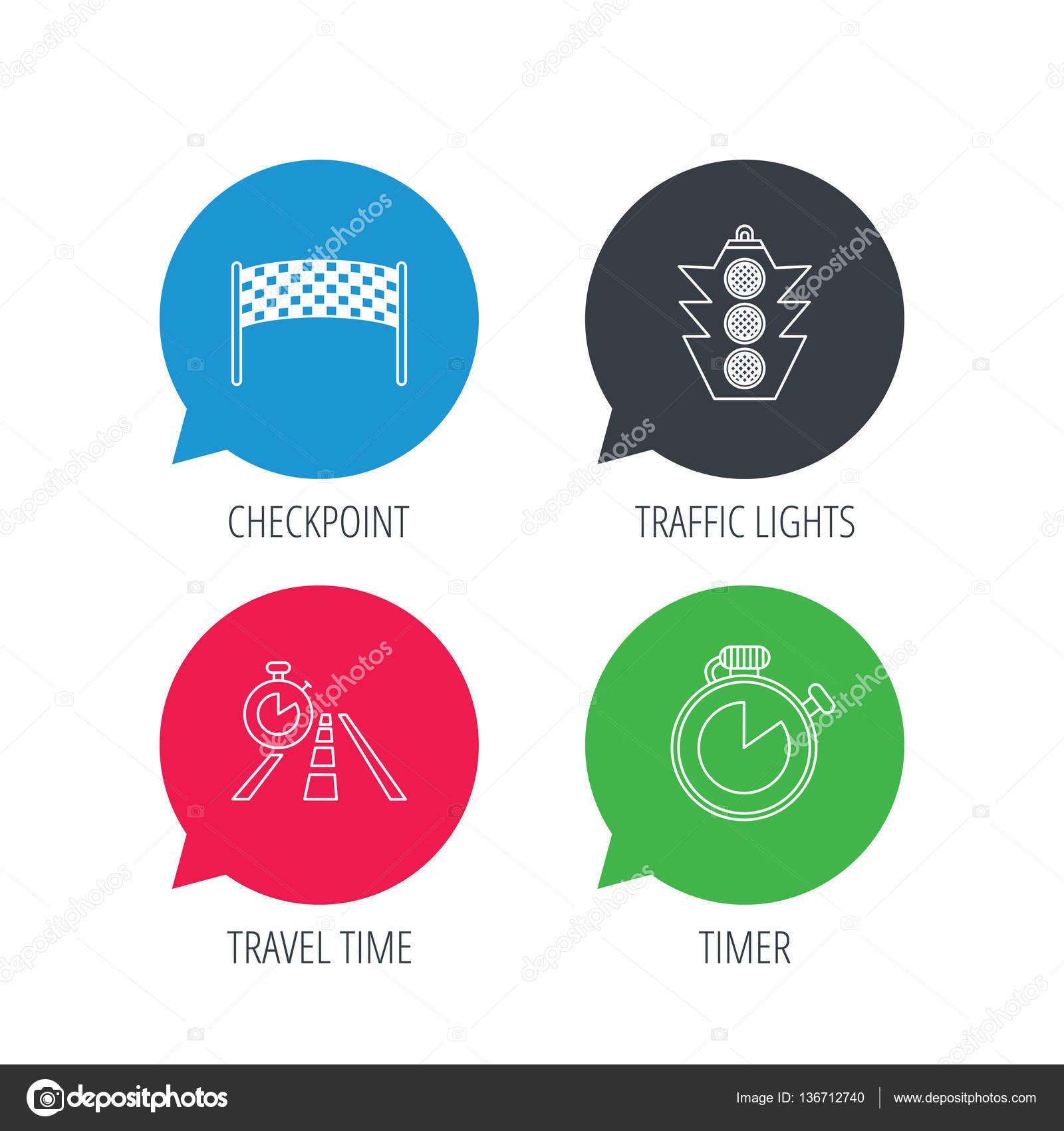 Checkpoint, Ampeln und Timer-Symbole — Stockvektor © Tanyastock ...