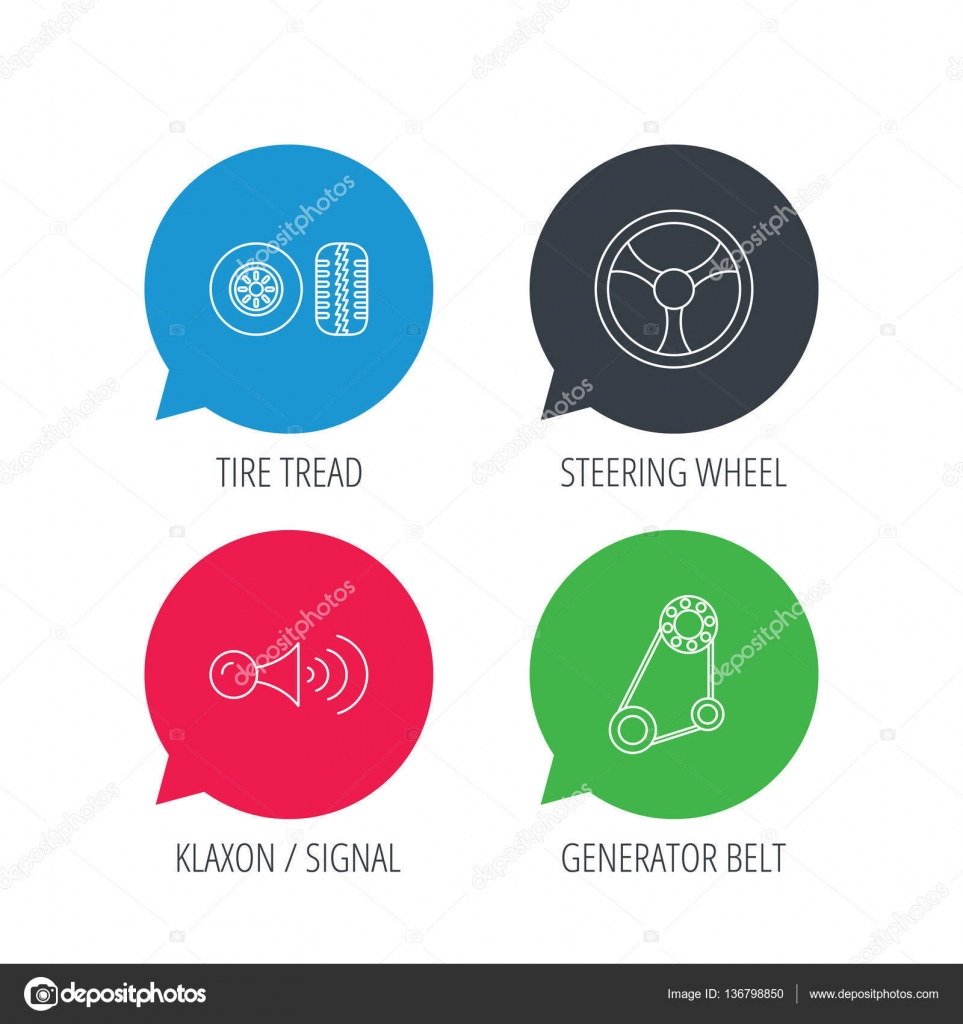 klaxon signal tire and steering wheel icons stock vector