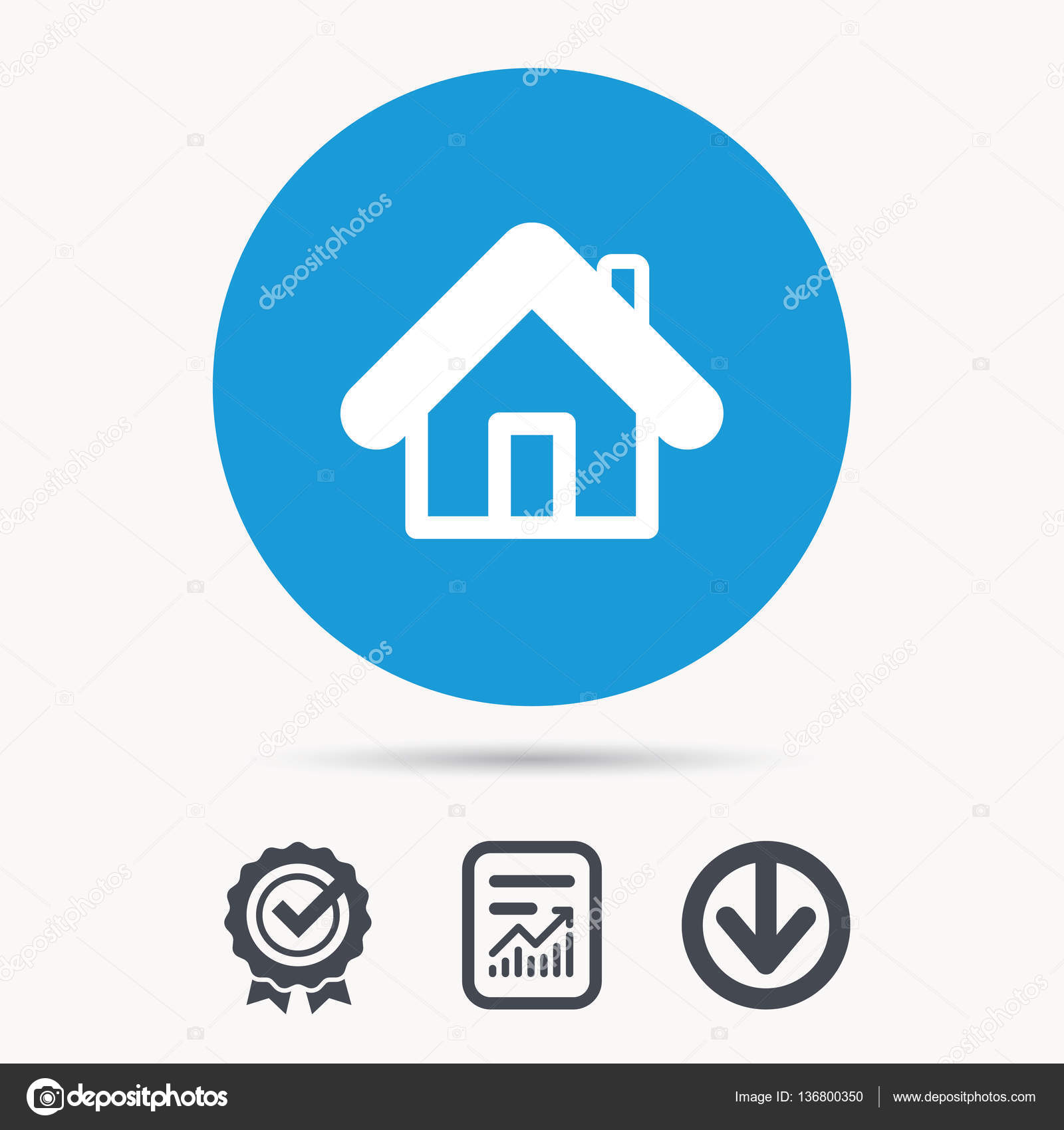 Home icon house building sign stock vector tanyastock 136800350 home icon house building symbol real estate construction achievement check download and report file signs circle button with web icon biocorpaavc