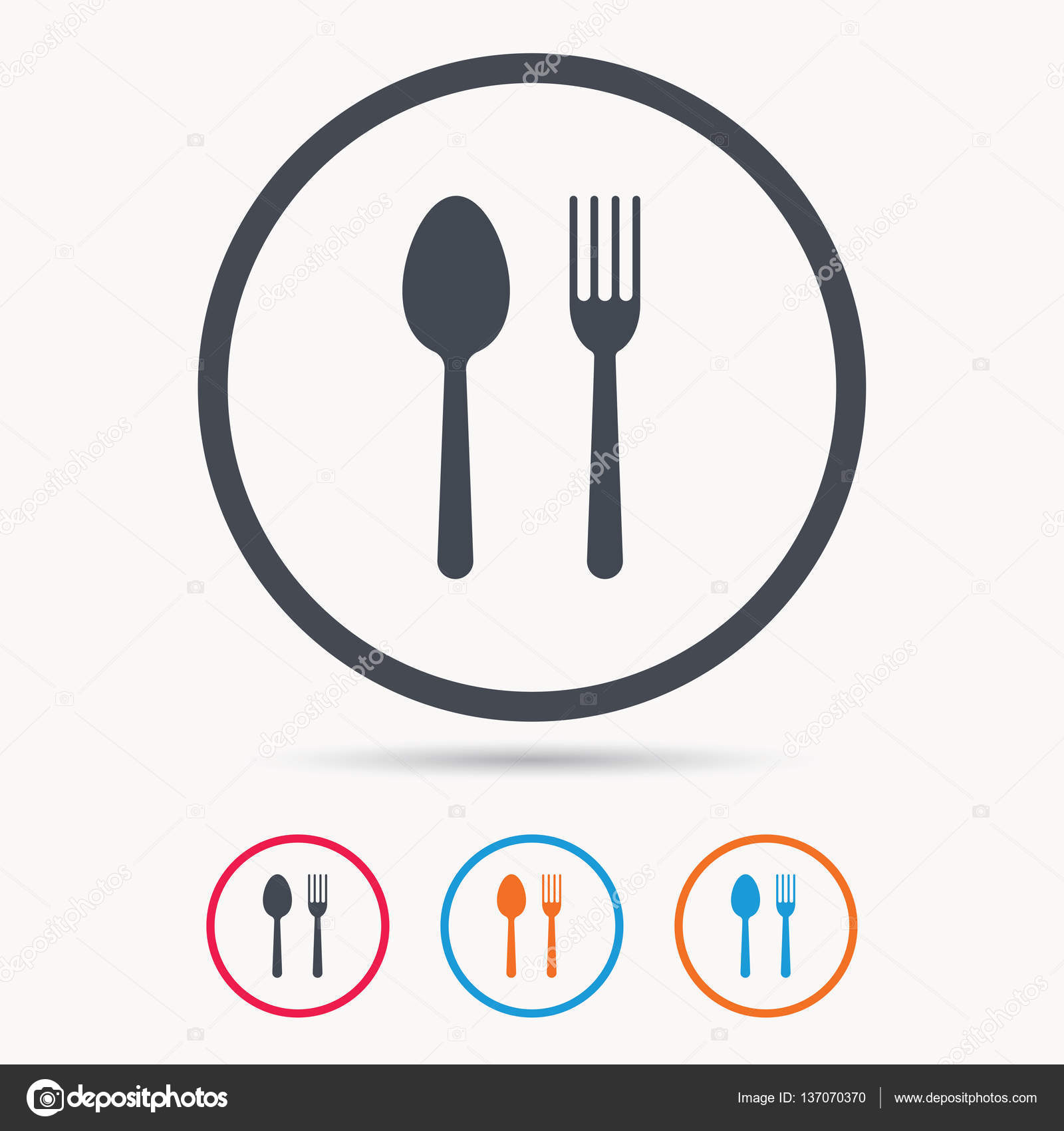 Food Icons Fork And Spoon Sign Stock Vector Tanyastock 137070370