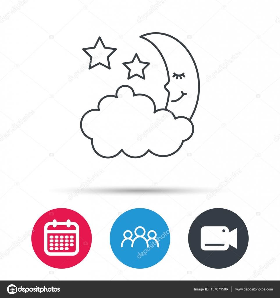 Simboli Luna Calendario.Icona Di Notte O Sonno Segno Di Luna E Stelle Vettoriali