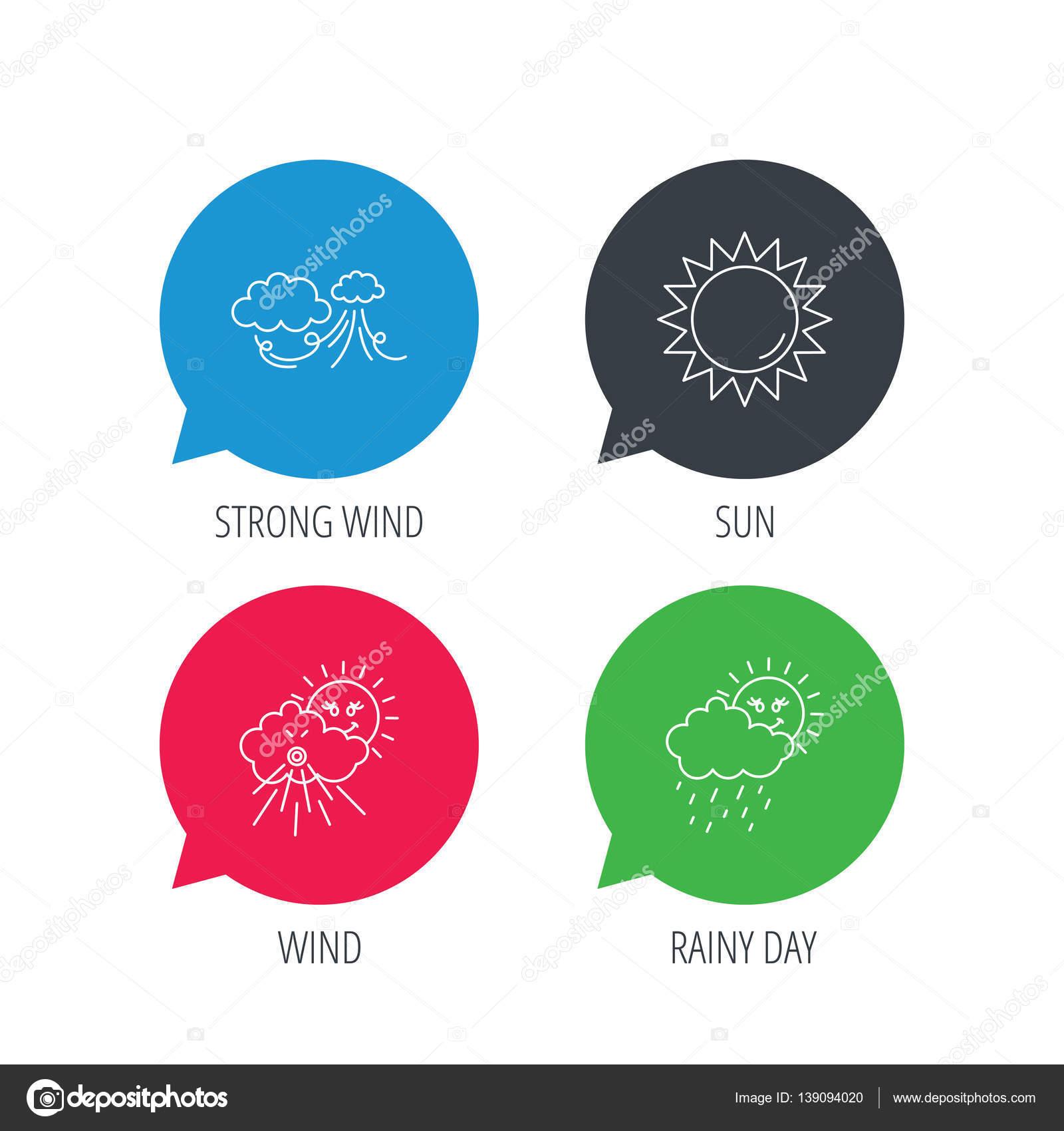 Tiempo, fuertes viento y el día lluvioso los iconos — Archivo ...
