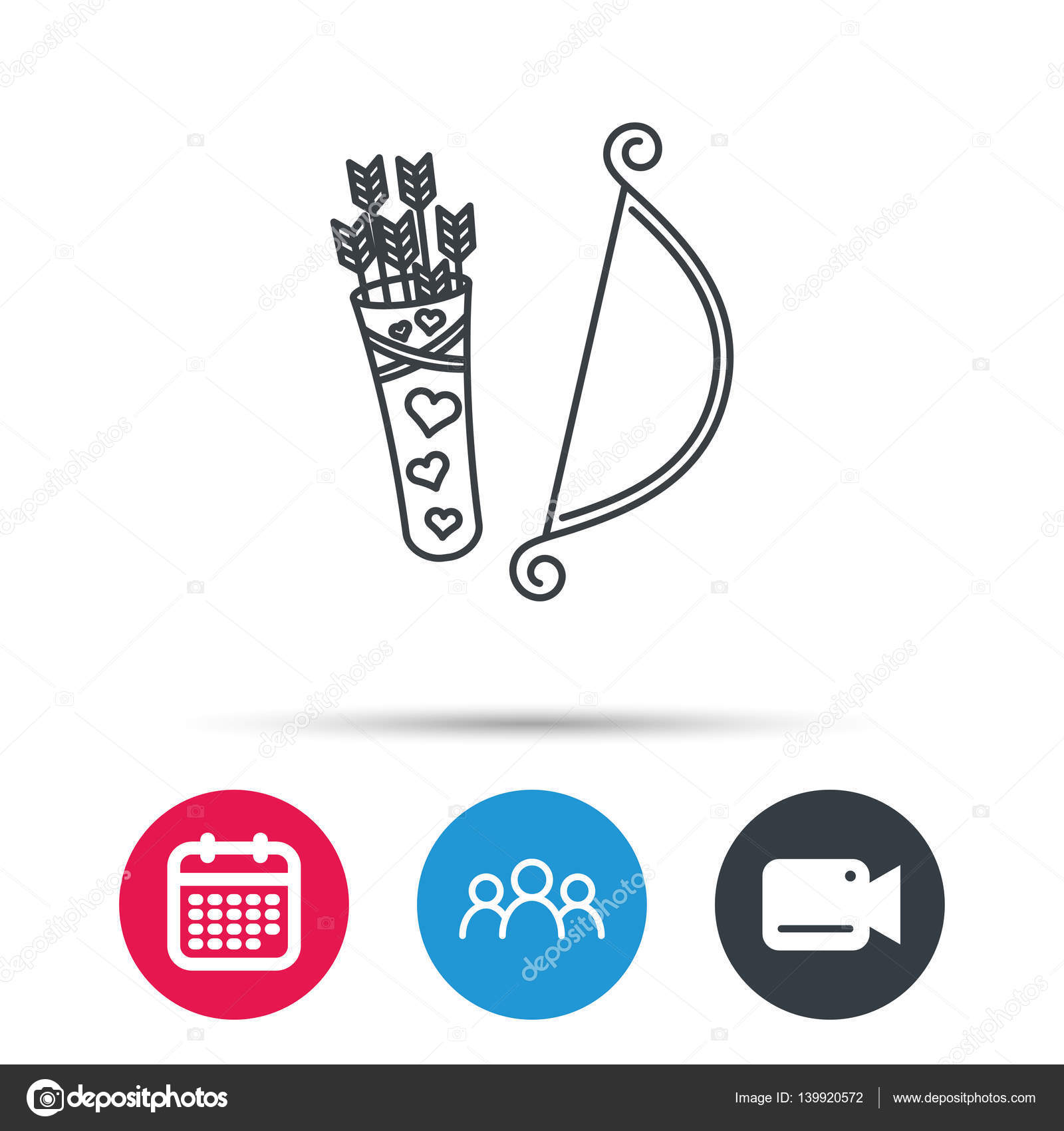 Amour Arrows With Bow Icon Cupid Love Symbol Stock Vector