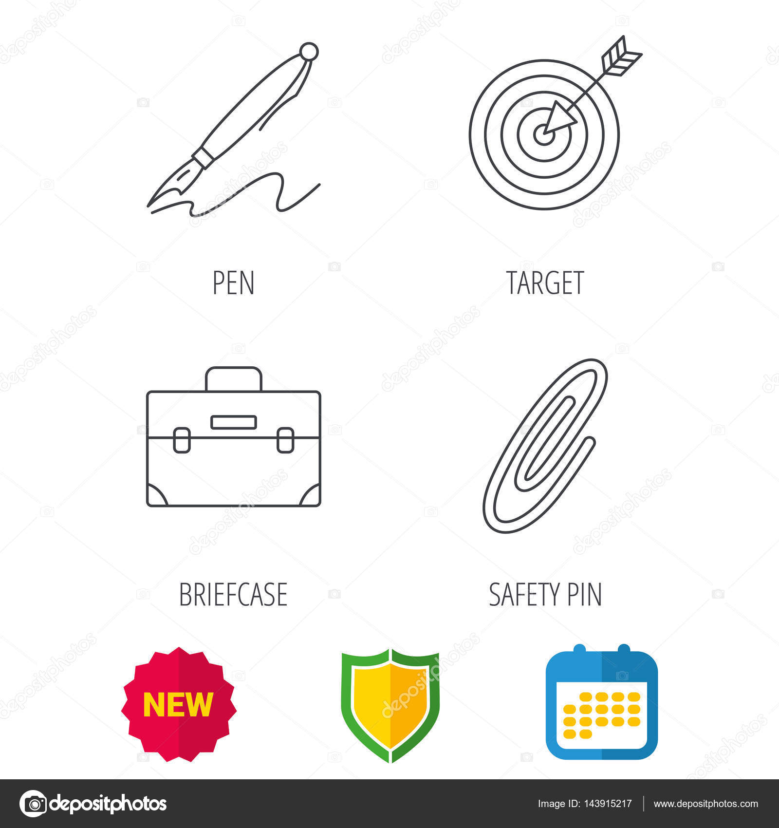 briefcase safety pin and target icons stock vector tanyastock