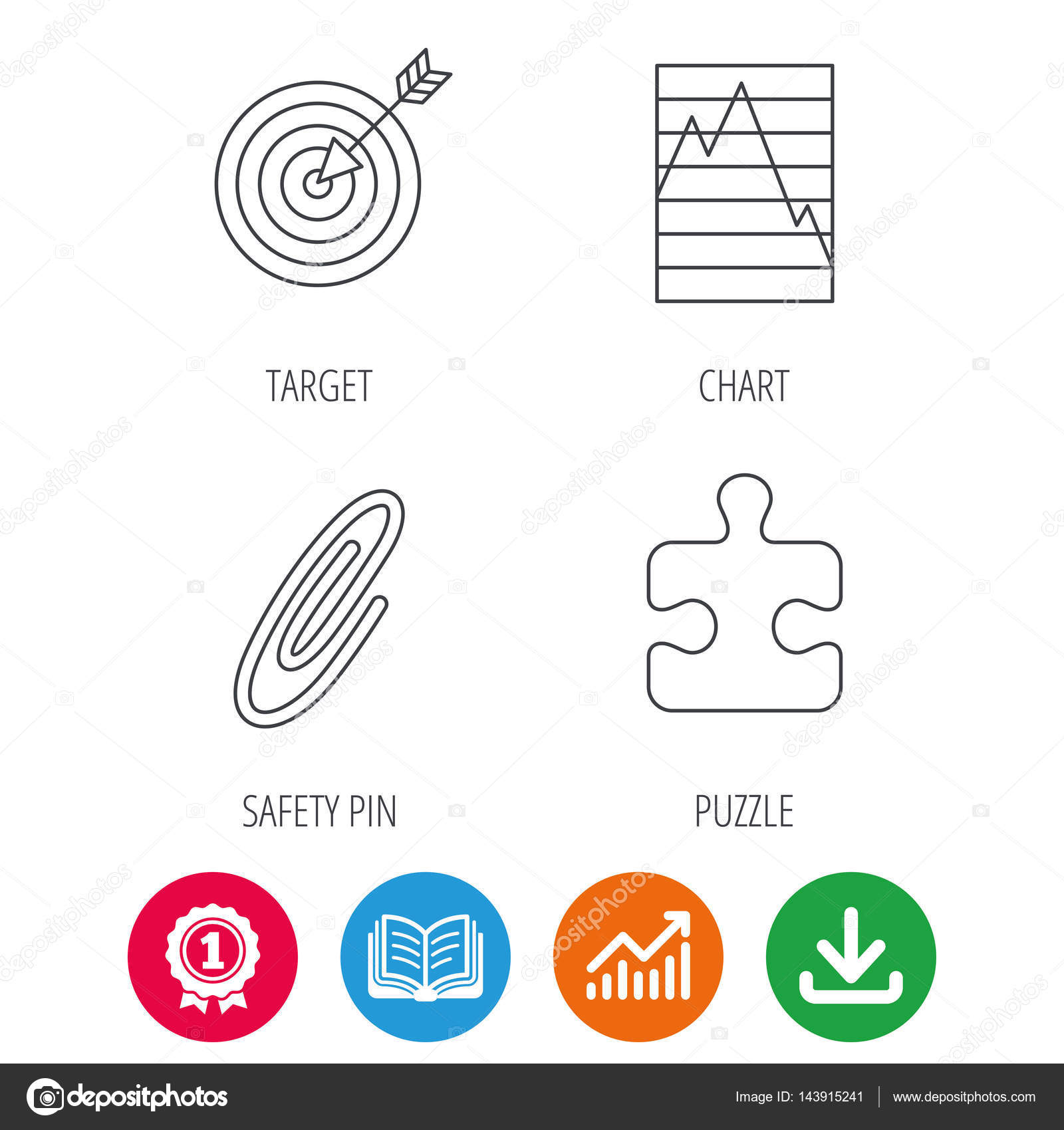 Puzzle graph charts and target icons stock vector tanyastock puzzle graph charts and target icons safety pin linear sign award medal growth chart and opened book web icons download arrow geenschuldenfo Images