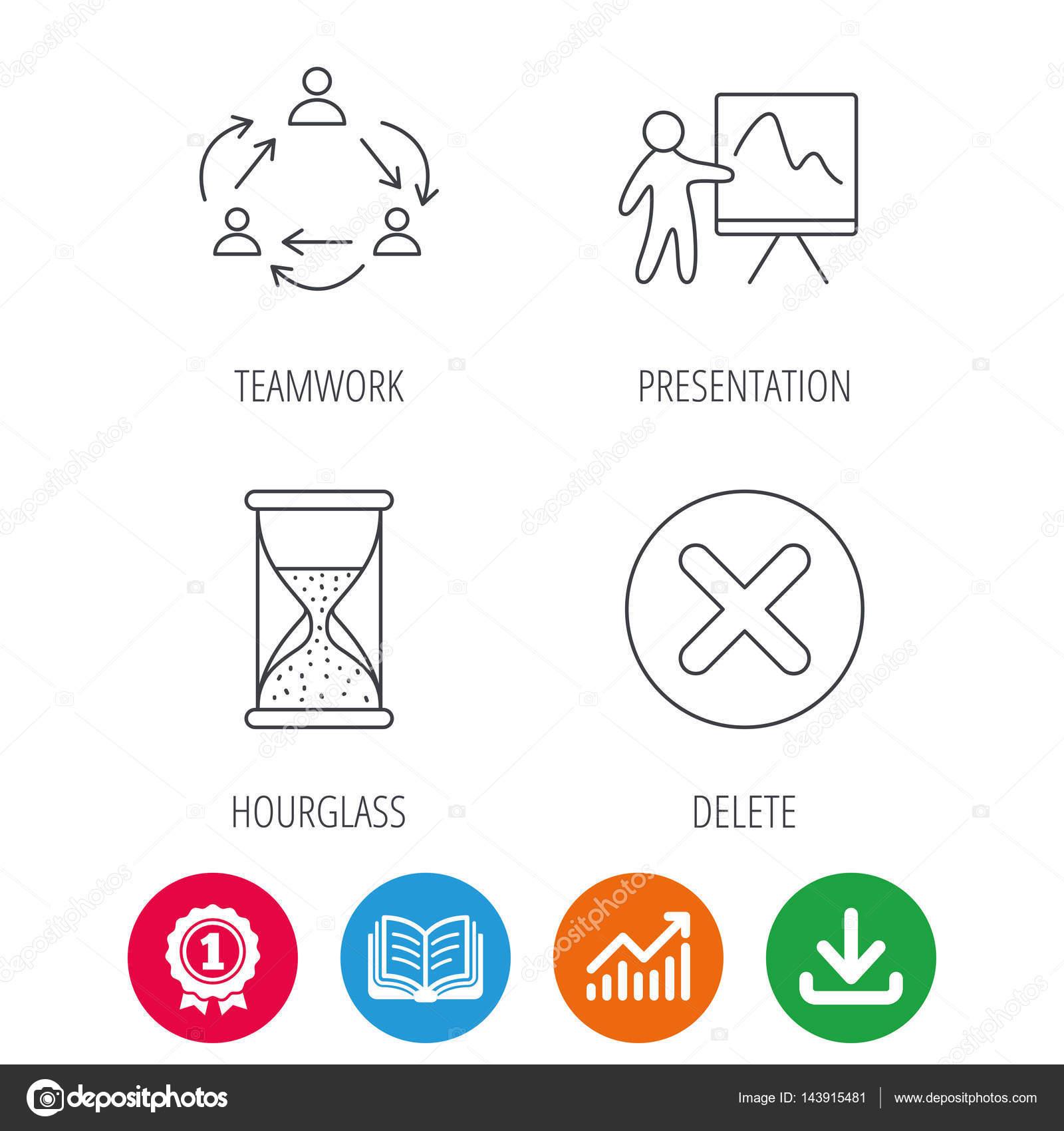 teamwork presentation and hourglass icons stock vector
