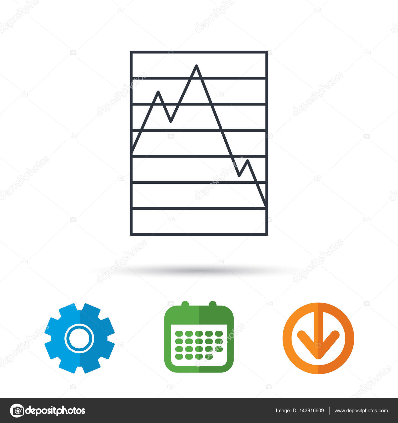 Chart icon graph diagram sign stock vector tanyastock 143916609 chart curve icon graph diagram sign demand reduction symbol calendar cogwheel and download arrow signs colored flat web icons ccuart Gallery
