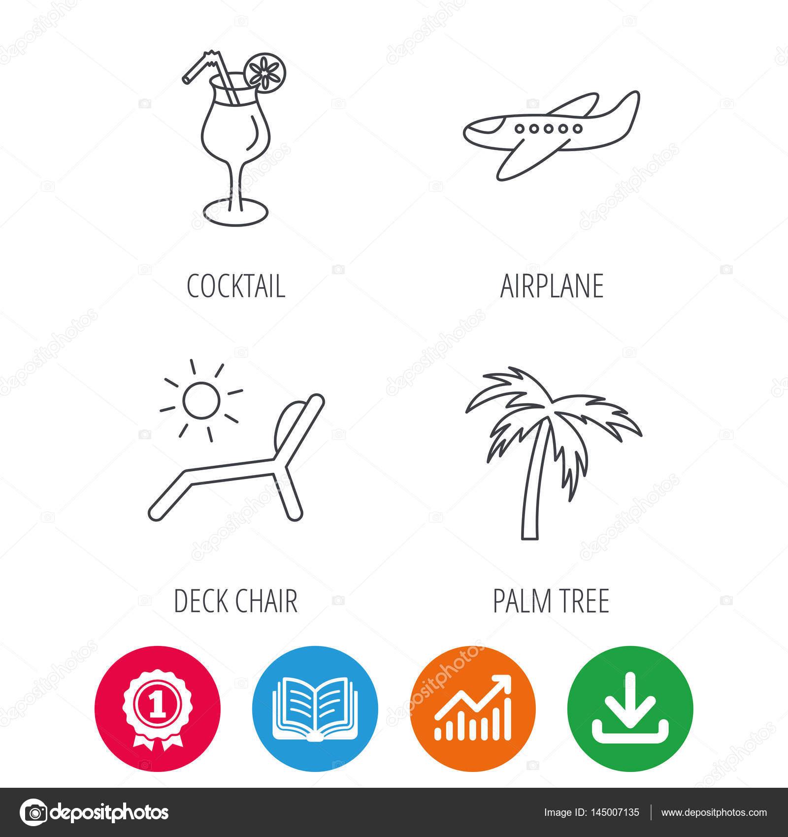Avión, silla de cubierta y los iconos cocteles — Archivo Imágenes ...