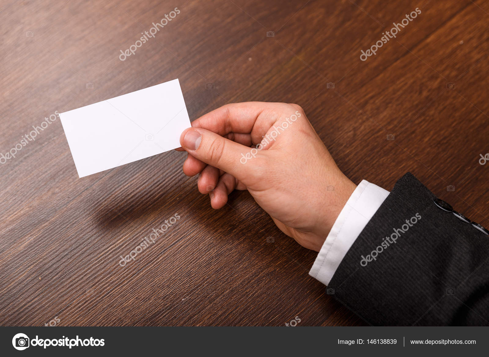 Hand hold blank business card design mockup. — Stock Photo ...