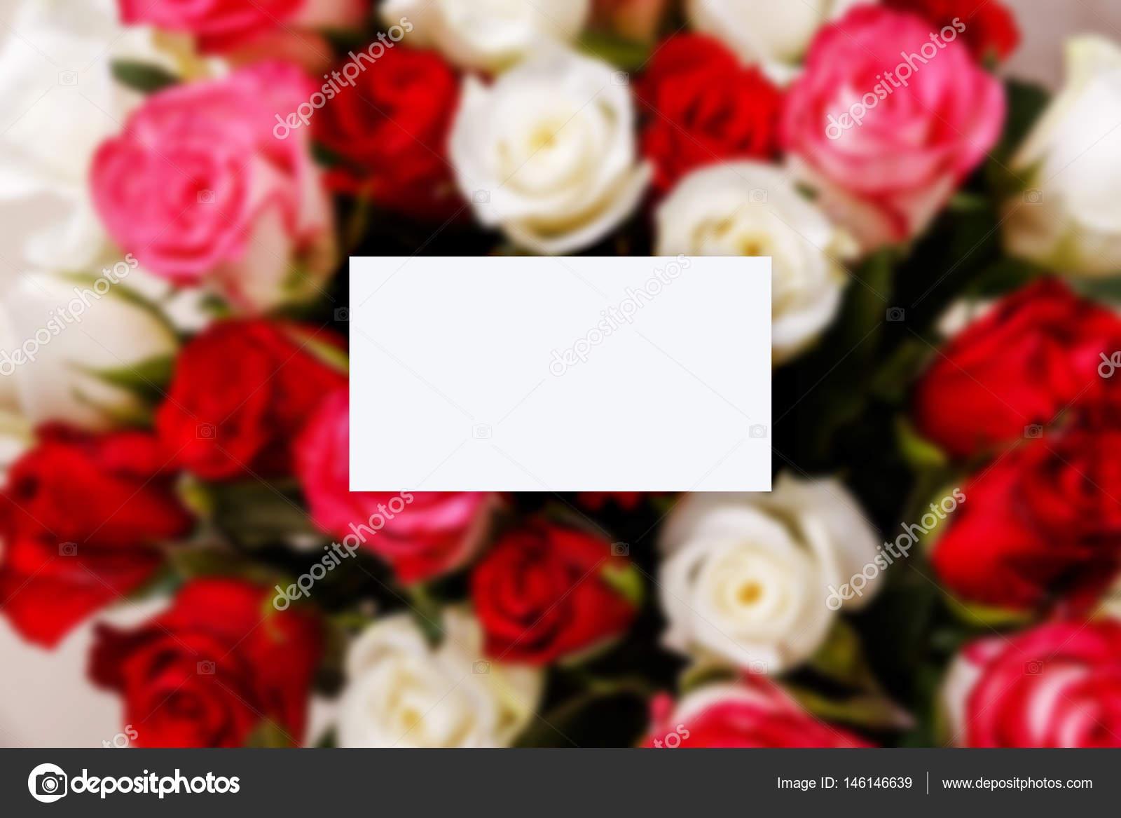 Maquette De Carte Visite Bouquet Fond Roses Mariage Fleurs Naturelles Saint Valentin Ou Un Cadeau Floral 8 Mars Image Tanyastock