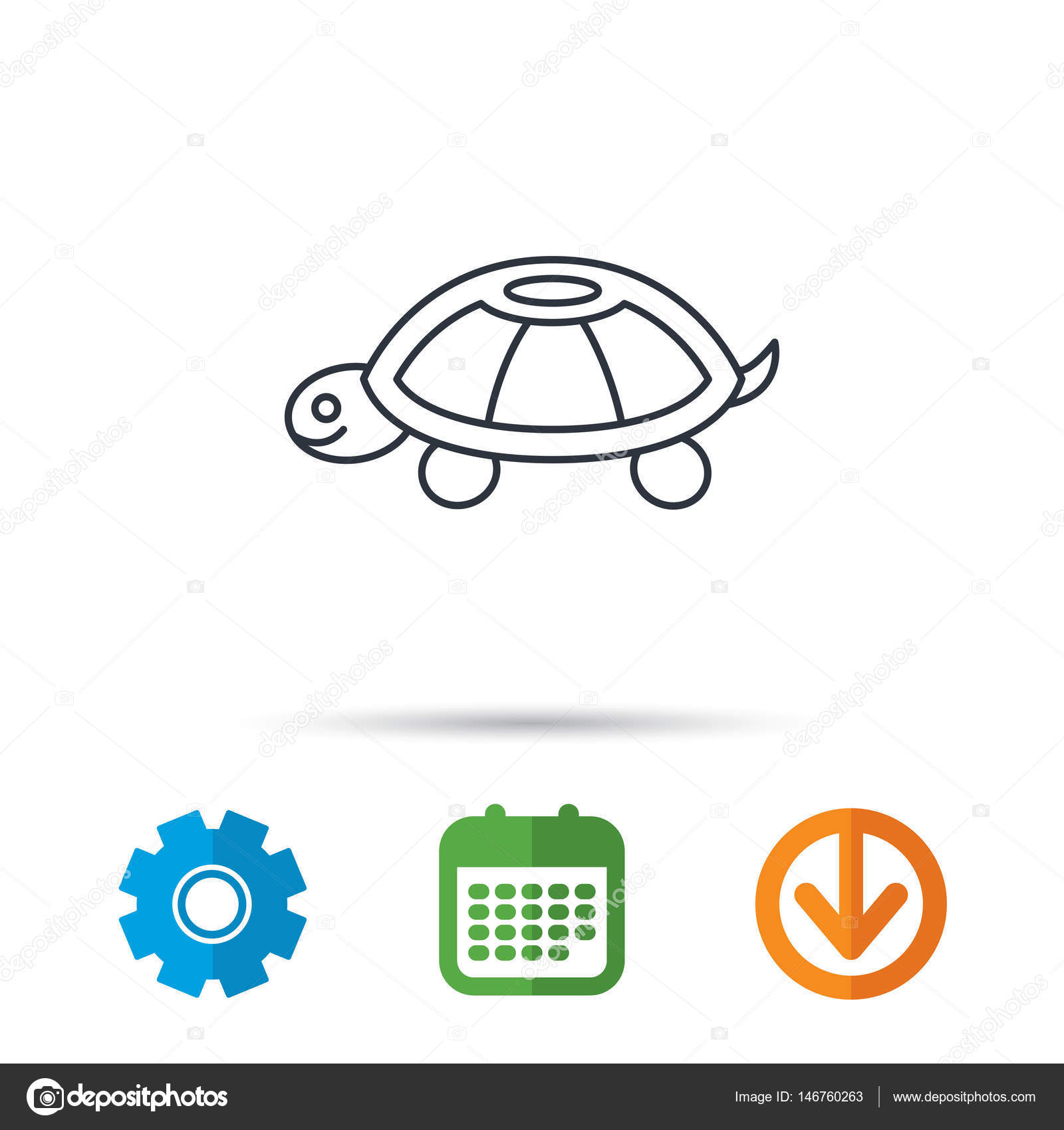 Turtle icon tortoise sign stock vector tanyastock 146760263 turtle icon tortoise sign tortoiseshell symbol calendar cogwheel and download arrow signs colored flat web icons vector vector by tanyastock biocorpaavc