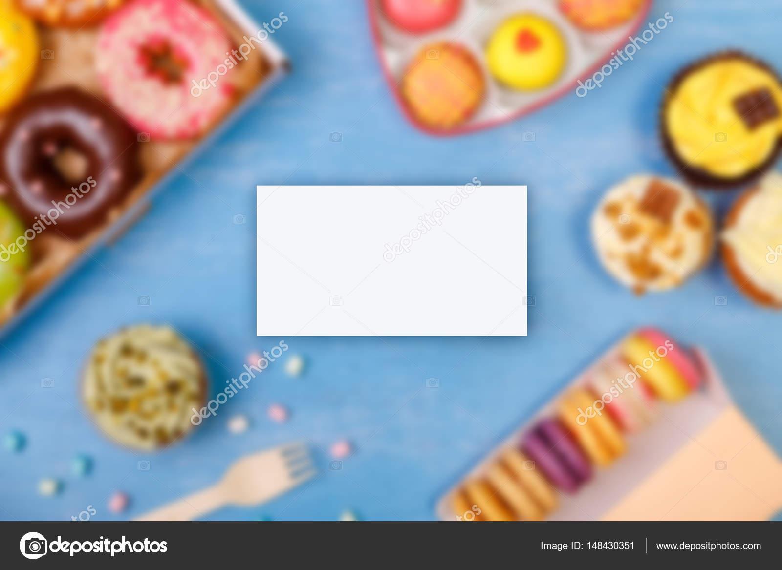 Business card mockup. Cupcakes, Macaroons. — Stock Photo ...