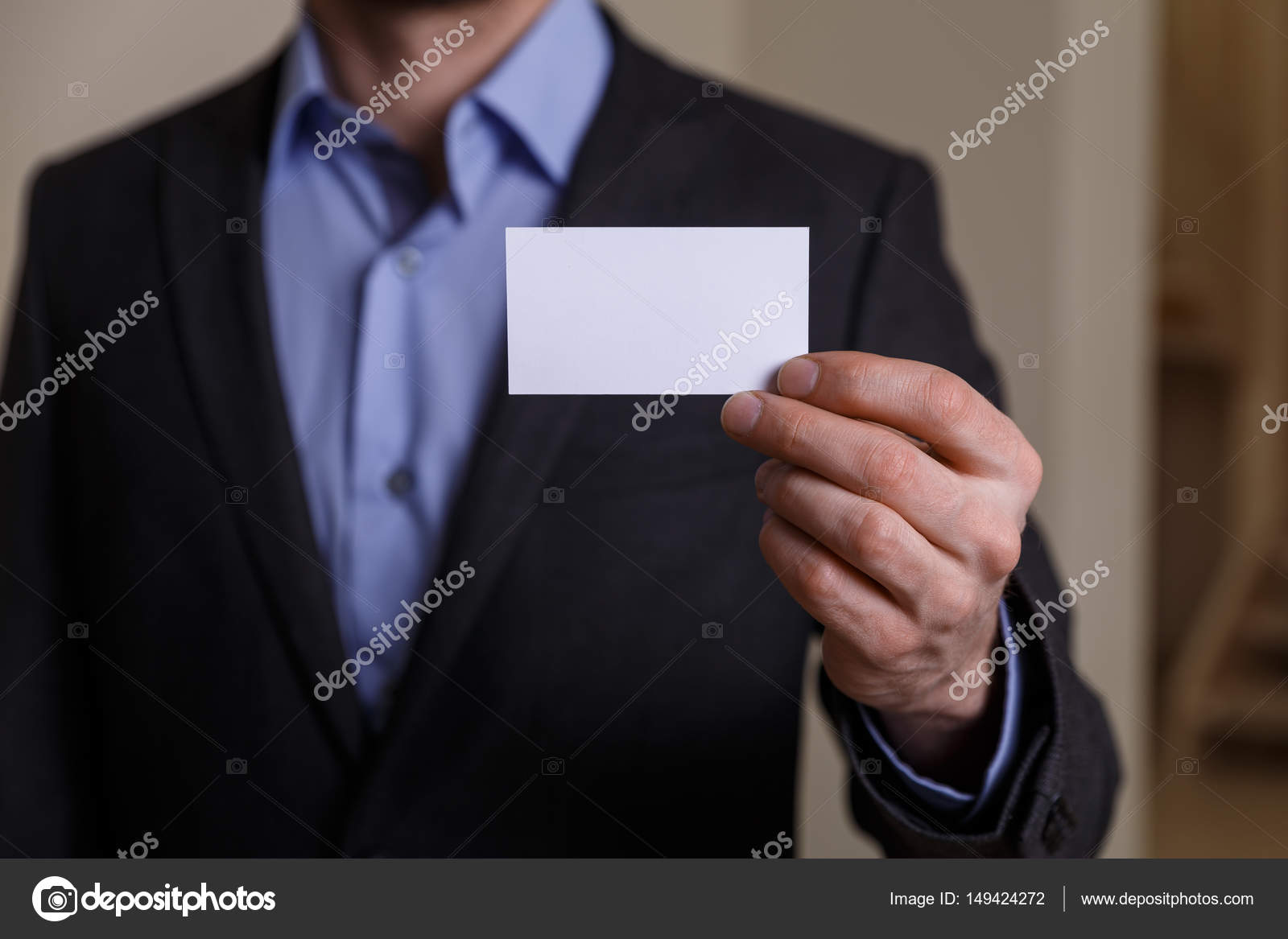 Businessman holding visit or business card. — Stock Photo ...