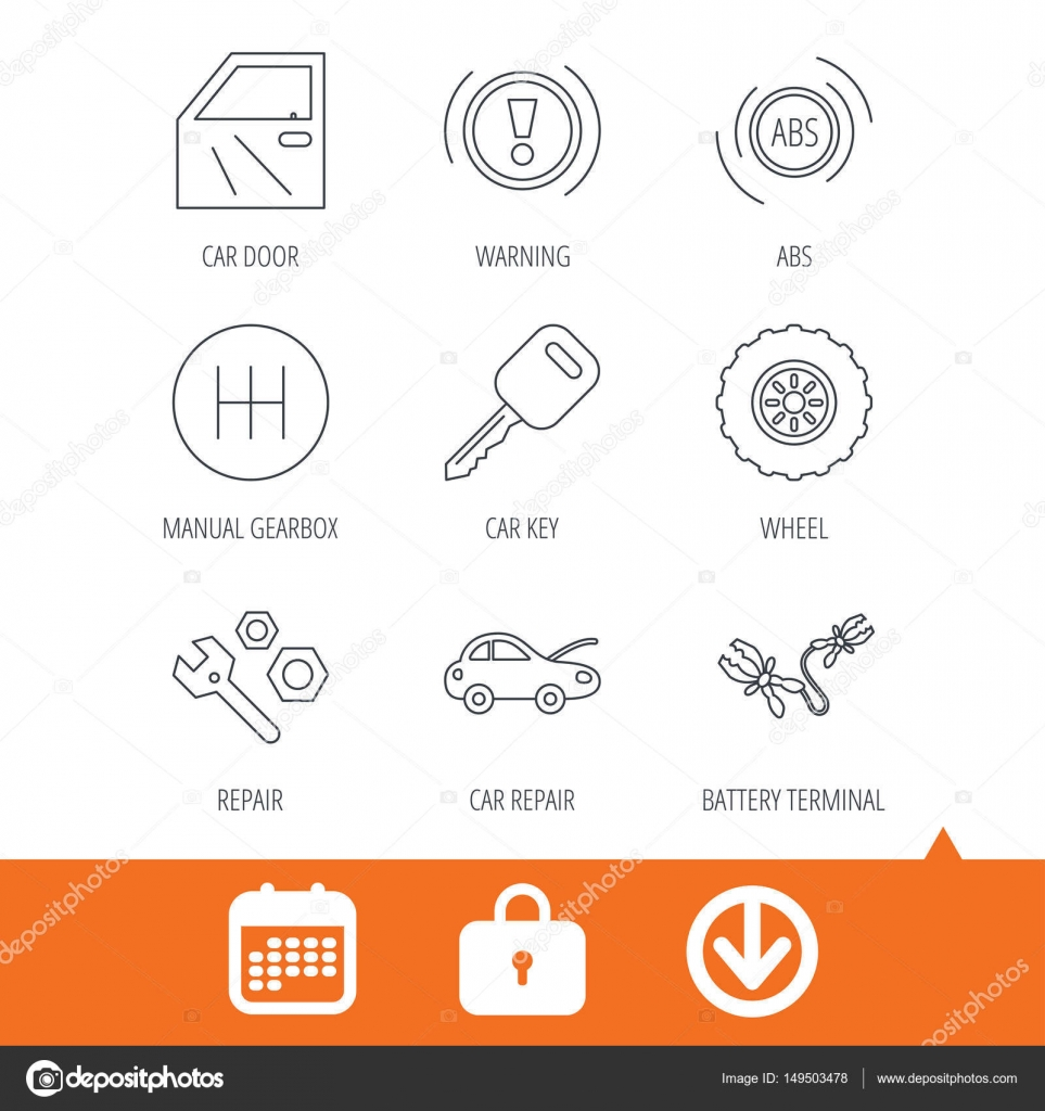 car key repair tools and manual gearbox icons stock vector rh depositphotos com Chilton Manuals Repair Manuals Yale Forklift
