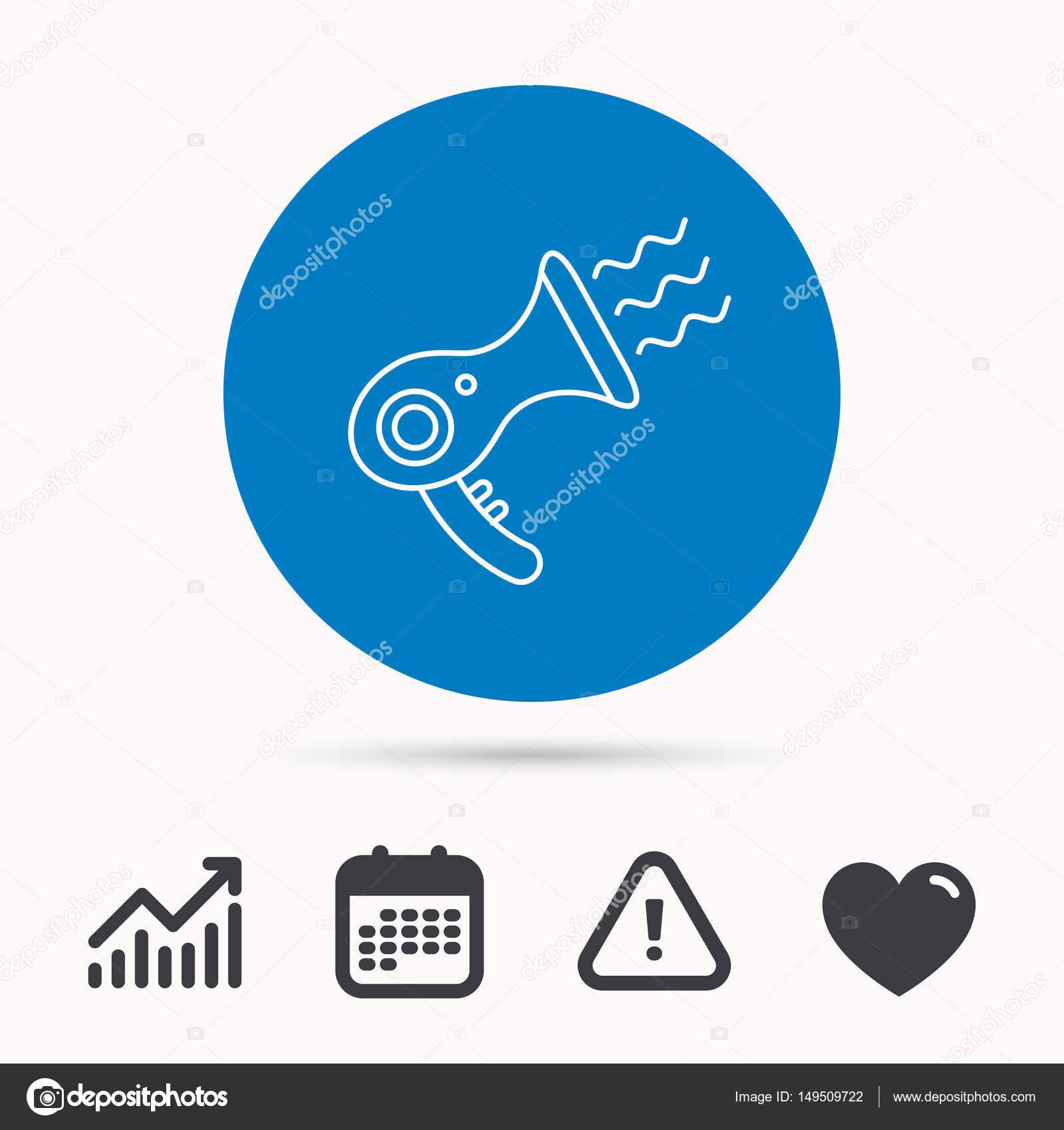 Haartrockner-Symbol. Elektronische Bügelgegenstände Zeichen ...