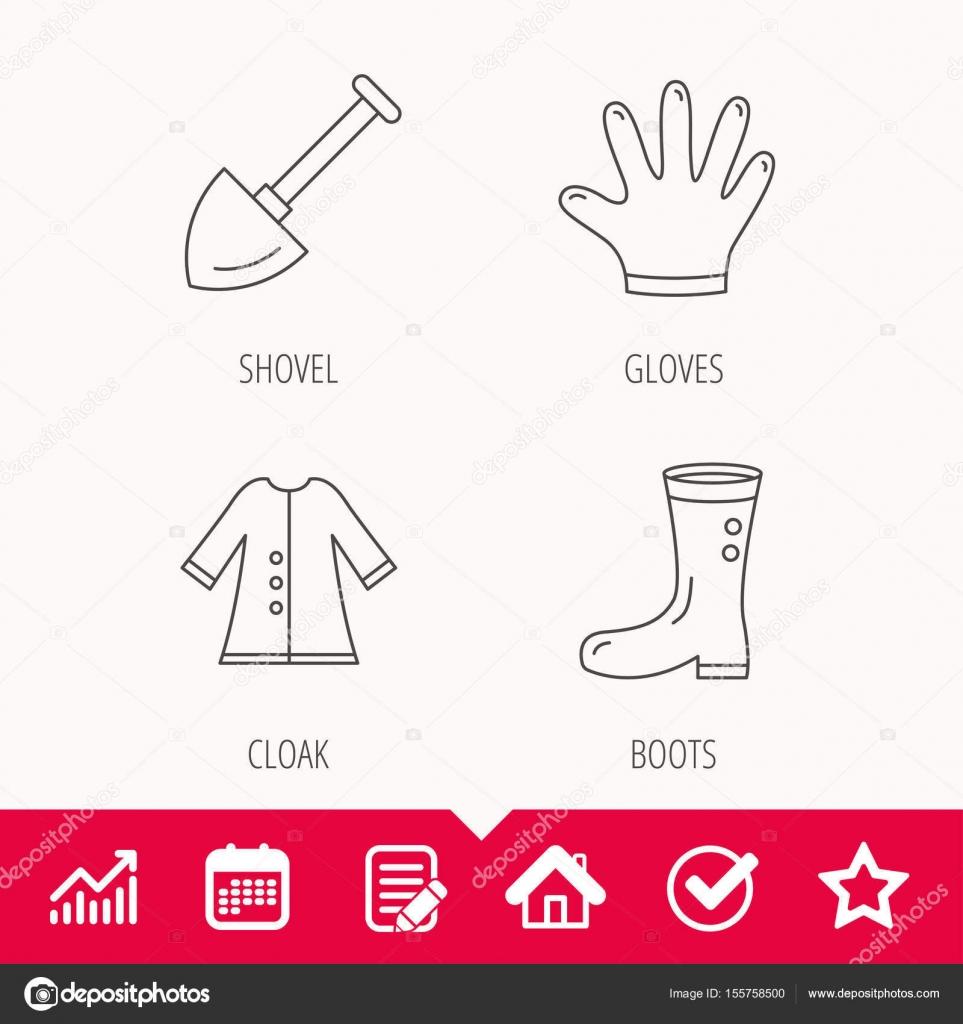 Iconos de pala, botas y guantes — Vector de stock © Tanyastock ...