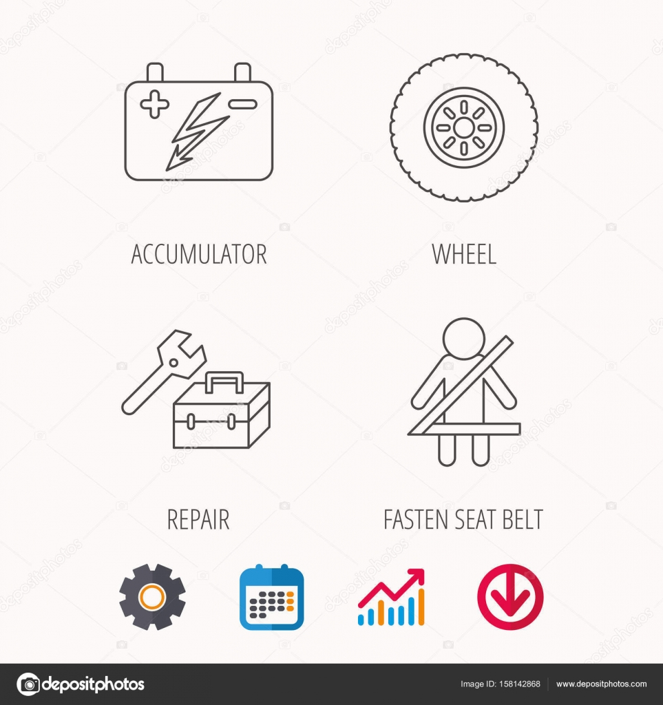 Akkumulator, Rad und Auto-Service-Symbole — Stockvektor © Tanyastock ...