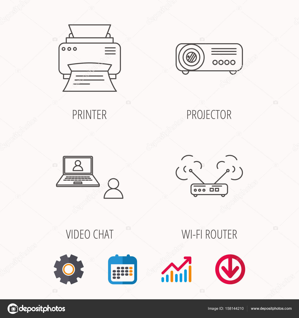 Projektor, Drucker und WLAN-Router Symbole — Stockvektor ...