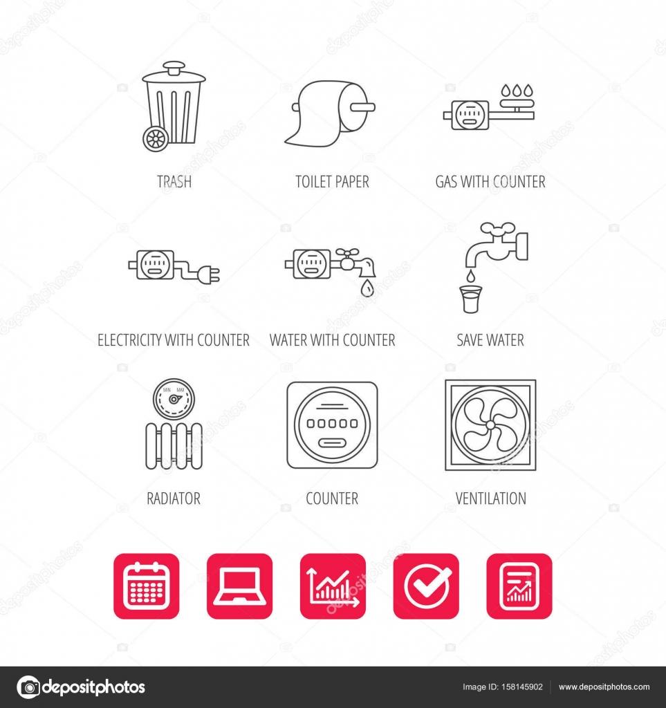 Lüftung, Heizkörper und Wasser-Zähler-Symbole — Stockvektor ...