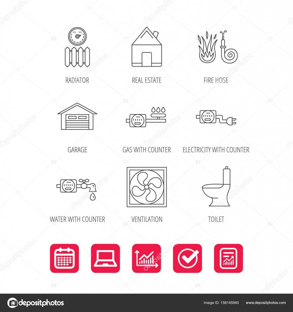 Lüftung, Garage und Wärme Heizkörper-Symbole — Stockvektor ...