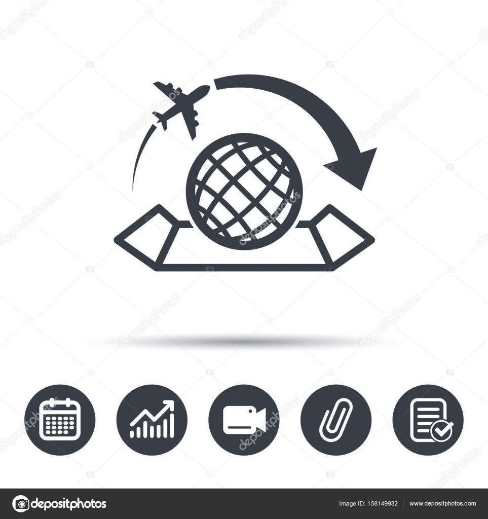 World map icon plane travel sign stock vector tanyastock world map icon globe with arrow sign plane travel symbol calendar chart and checklist signs video camera and attach clip web icons gumiabroncs Image collections