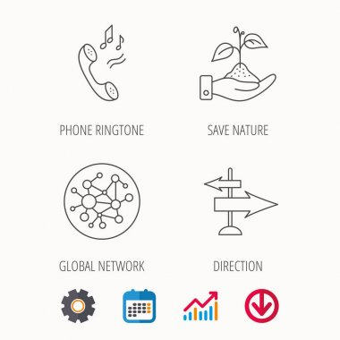Phone, global network and direction icon.
