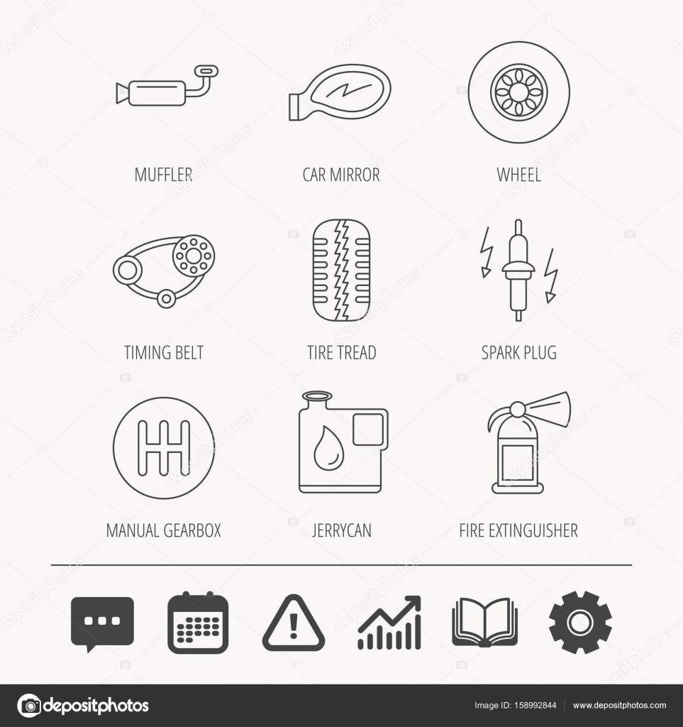 Rad, Auto-Spiegel und Zahnriemen-Icons — Stockvektor © Tanyastock ...