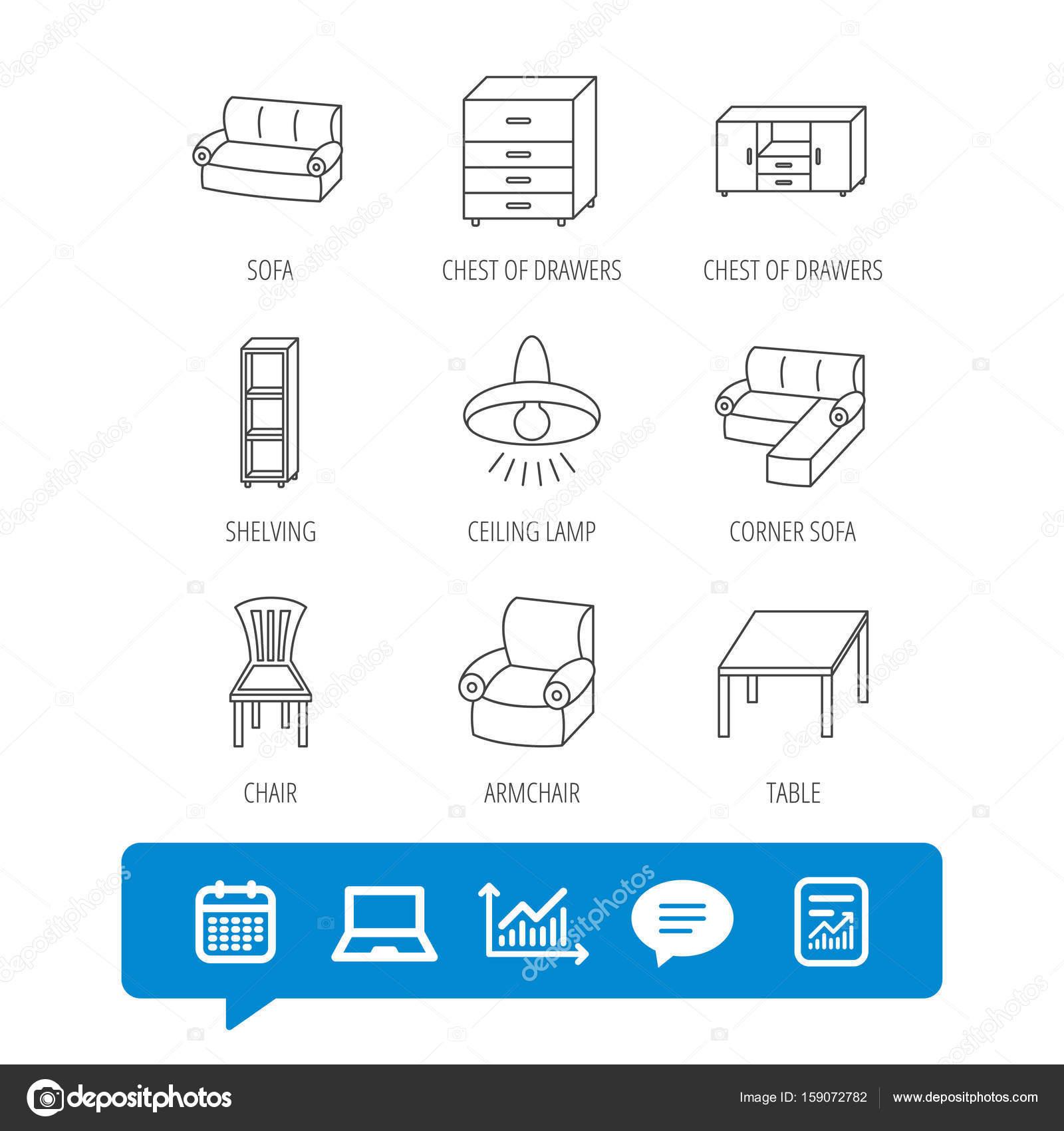Corner Sofa Table And Armchair Icons Stock Vector C Tanyastock