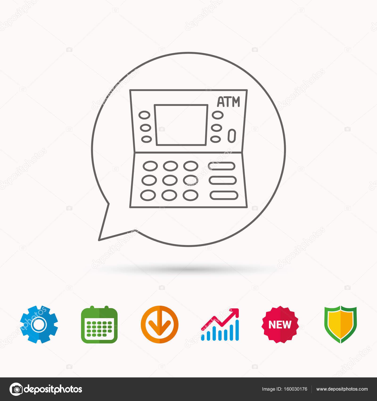 ATM-Symbol. Automatische Bargeld Auszahlung Zeichen — Stockvektor ...