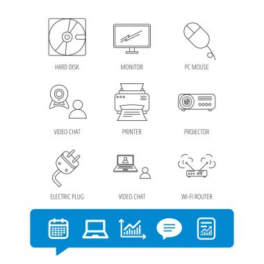 Monitor, printer and wi-fi router icons.