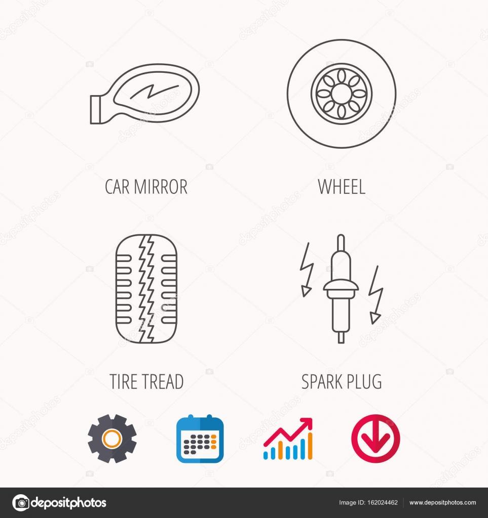 Rad, Autospiegel und Zündkerze icons — Stockvektor © Tanyastock ...