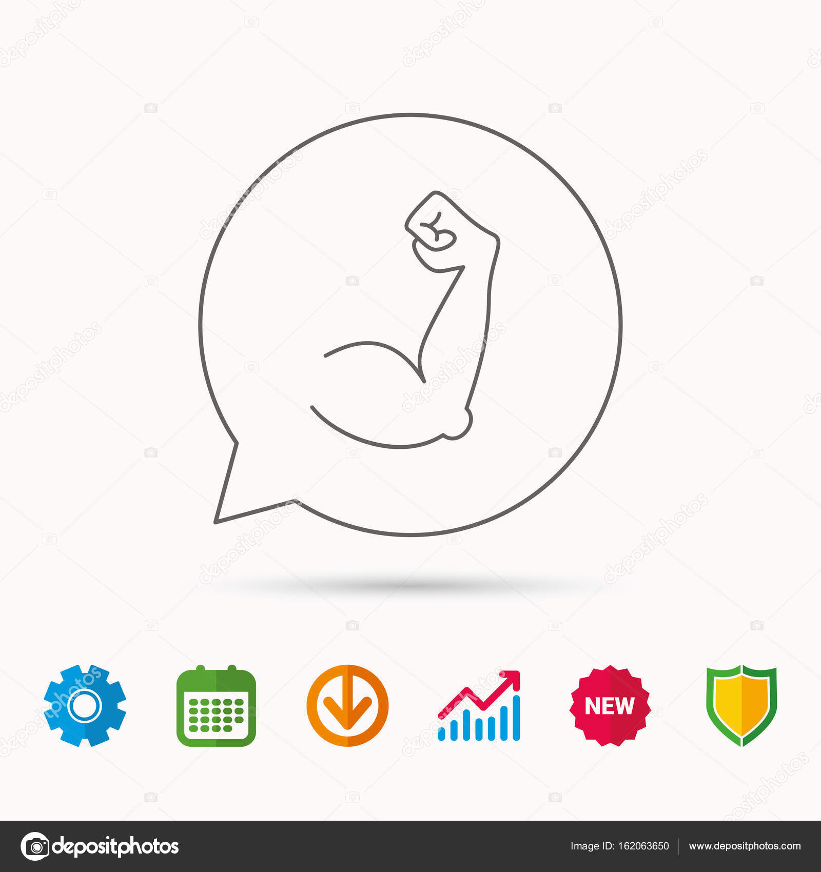 biceps muscle icon bodybuilder strong arm sign stock vector