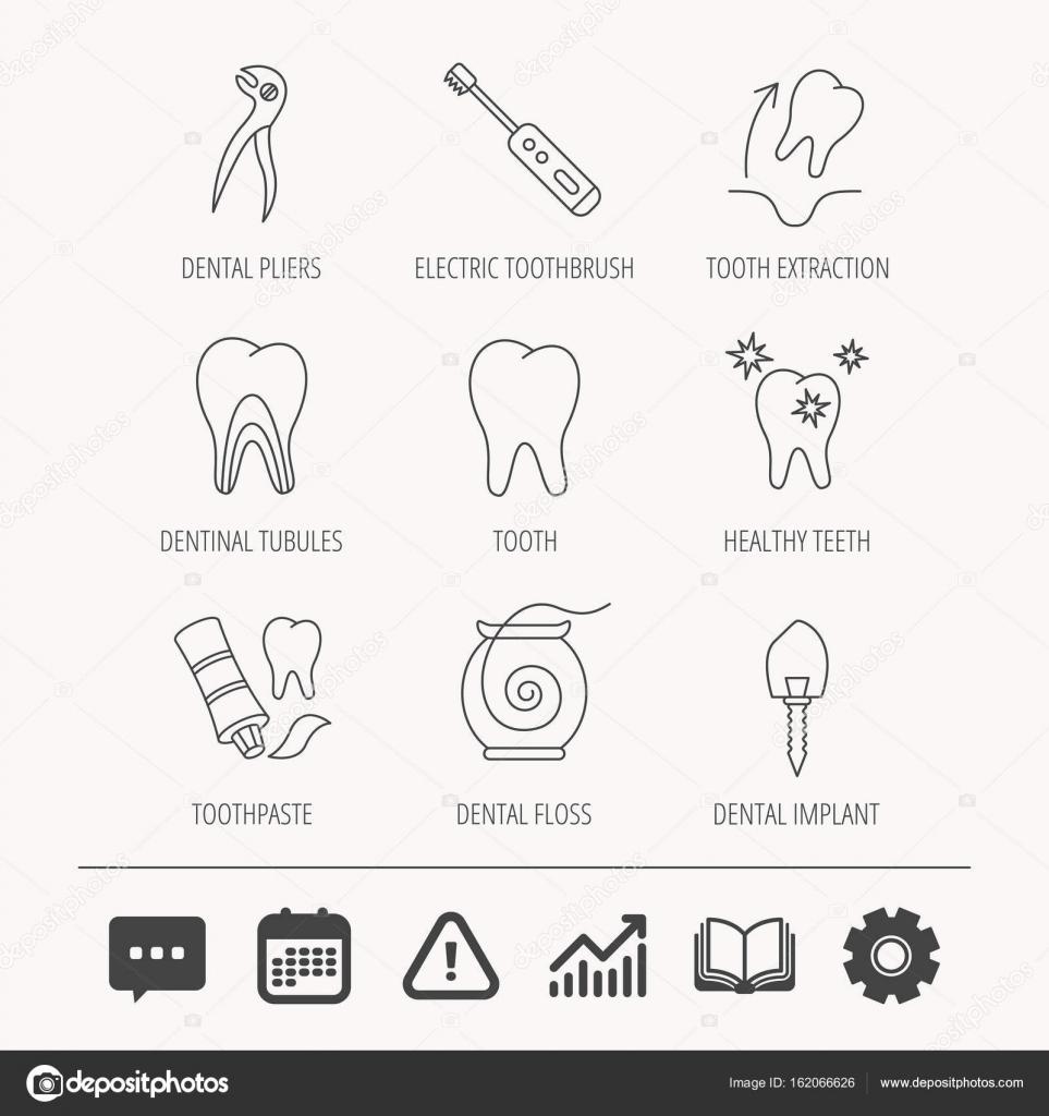 Zahnextraktion, elektrische Zahnbürste Symbole — Stockvektor ...