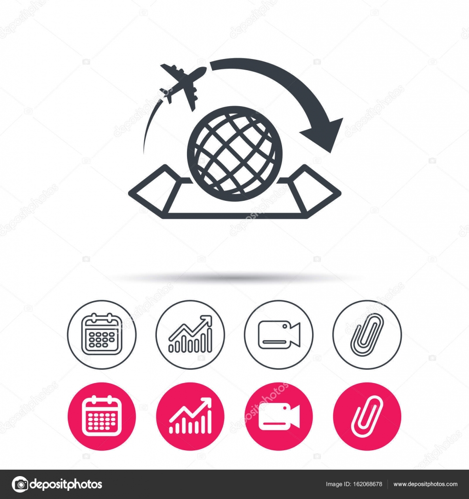 World map icon plane travel sign stock vector tanyastock world map icon globe with arrow sign plane travel symbol statistics chart calendar and video camera signs attachment clip web icons vector vector by gumiabroncs Gallery