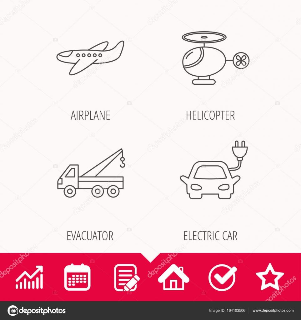 Elektrische Auto, Flugzeug und Hubschrauber Zeichen — Stockvektor ...