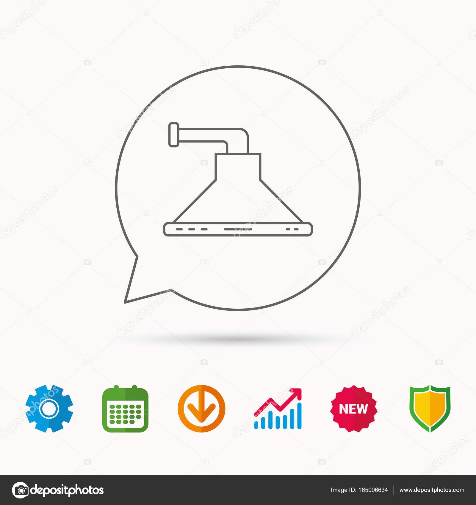 Küche-Haube-Symbol. Geschirr-Ausrüstung-Zeichen — Stockvektor ...