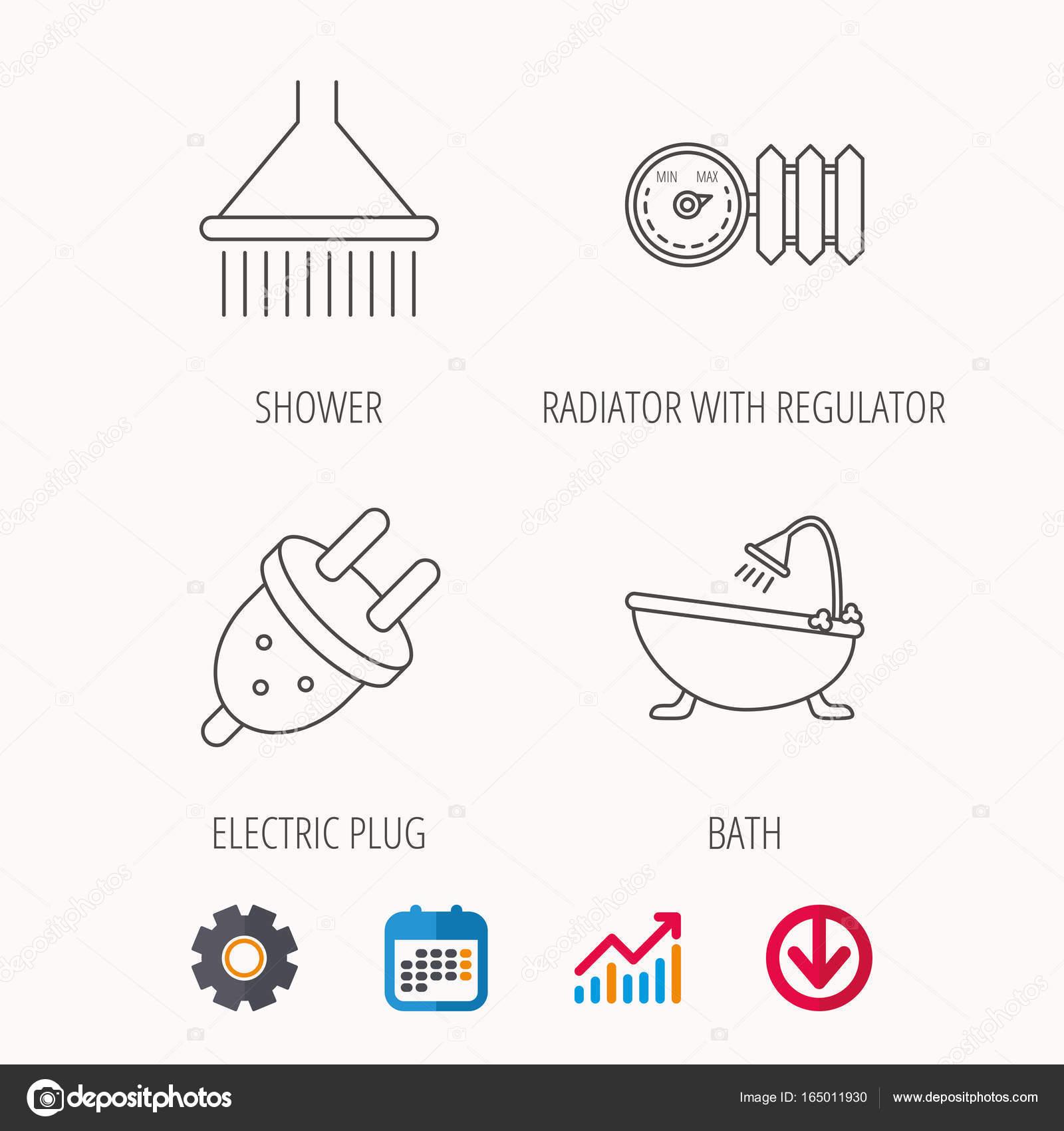 Dusche Badewanne Und Elektrischen Stecker Symbole Stockvektor