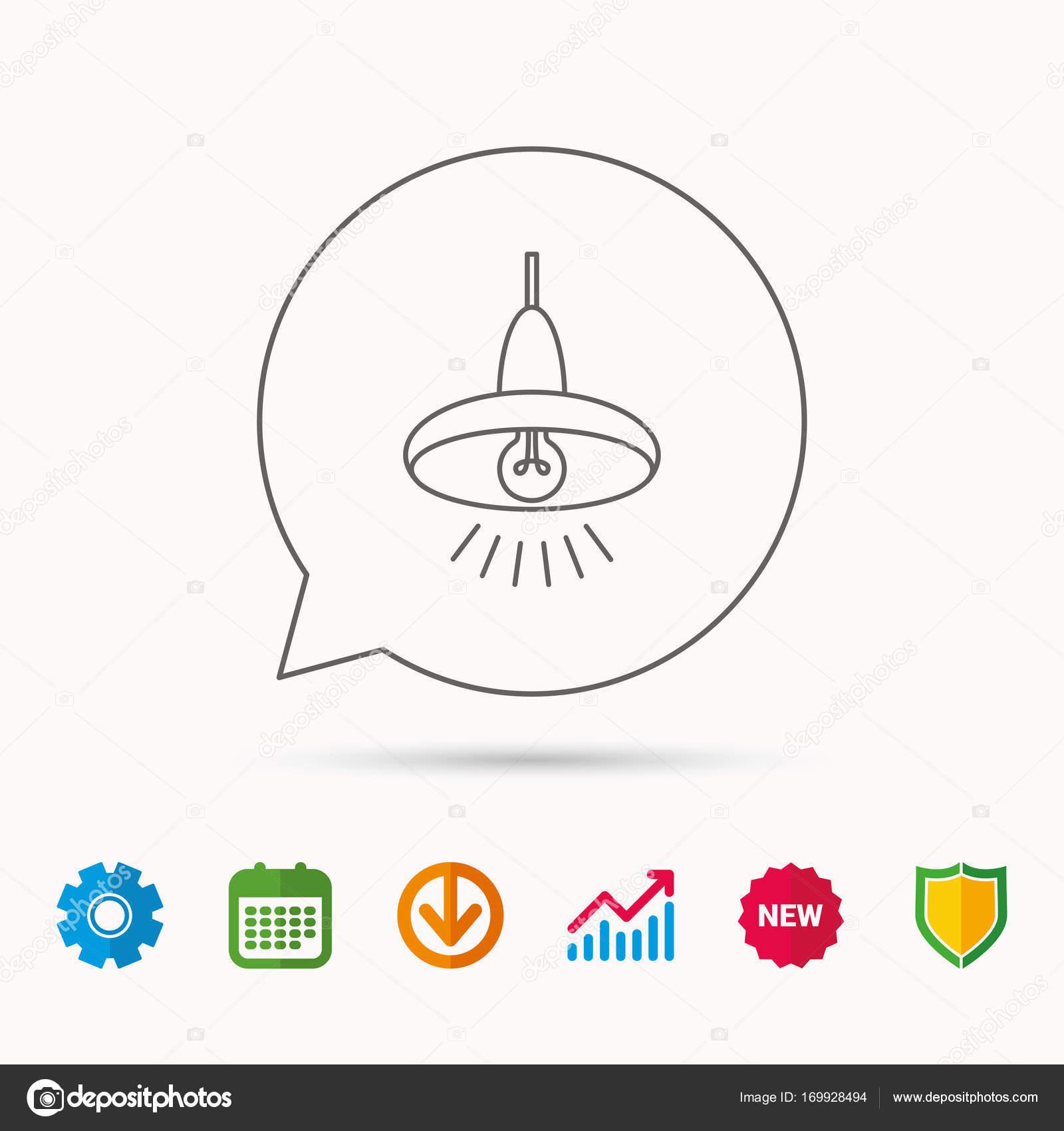 Decke-Lampe-Symbol. Licht-Beleuchtung-Zeichen — Stockvektor ...